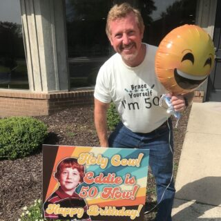 """The celebrating continues! Happy """"brithday"""" to the most dapper orthodontist we know- Dr. Davis! We sure are glad your """"teef"""" grew in and became an orthodontist! #DObraces #SmileOn #MissingTeeth #SmileTransformtion #HappyBirthday"""