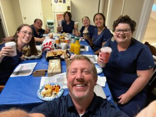 """Surprise Dr. Davis and Julie! Happy Boss' Day to two of the best bosses we could ever ask for! Since we can't celebrate on Saturday (Official Boss' Day), we decided to do our own """"Biscuits with the Boss"""" today! Thank you for being so awesome! #DObraces #bossday2021 #tedlasso #BuscuitsWithTheBoss #bestbosses #SurpriseBreakfast"""